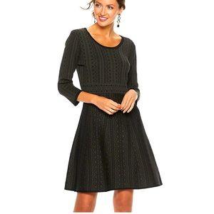 Nina Leonard Print Fit & Flare Sweater Dress M